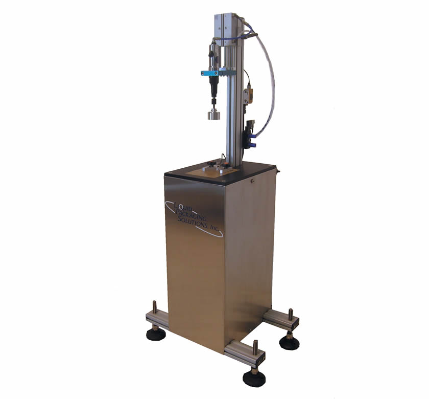 Semi-Automatic portable chuck capping machine from Liquid Packaging Solutions